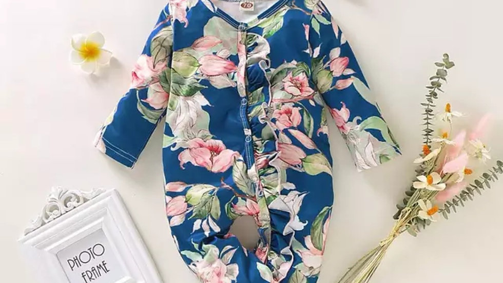 Bella Blue Floral Sleepsuit