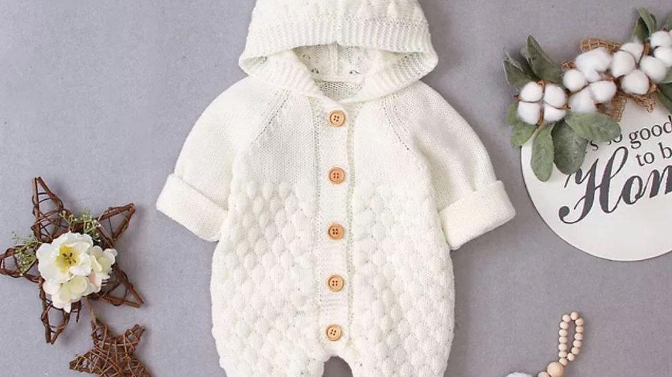 Cream knitted pramsuit