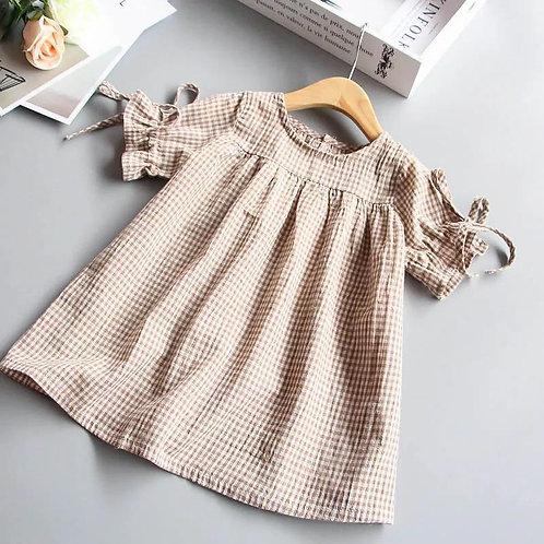 Winnie Neutral Gingham Dress