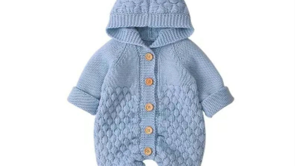 Blue knitted pramsuit