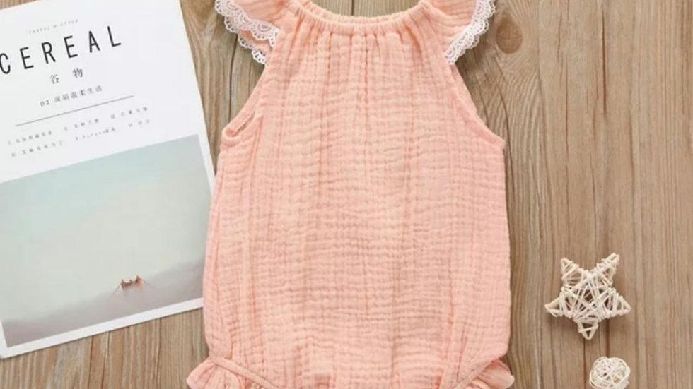 Baby Romper. Peach or ochre