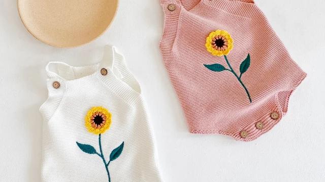 Sunflower Knit Romper