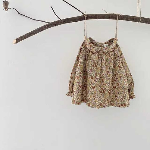 Olive Floral Collar Top