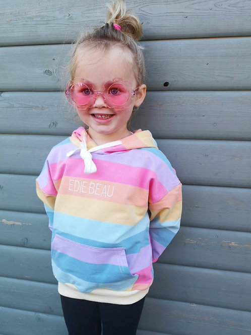Betsi Rainbow Stripe Hoodie (personalised