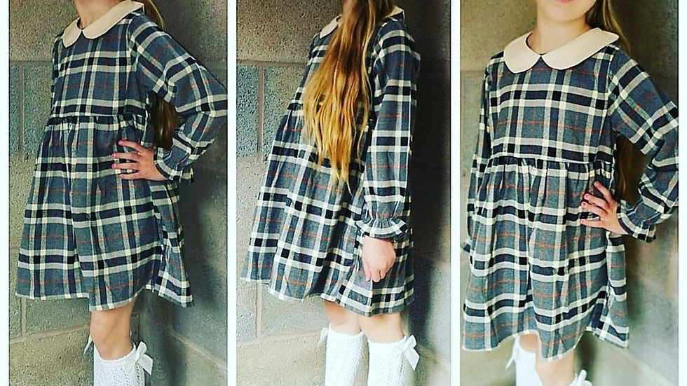 Meave charcoal check dress