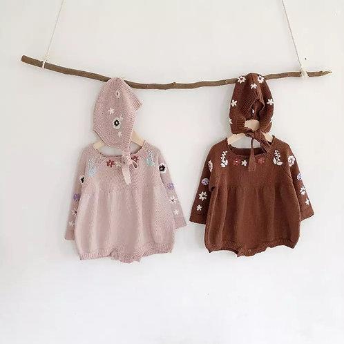 Ivy knitted Romper & Bonnet set