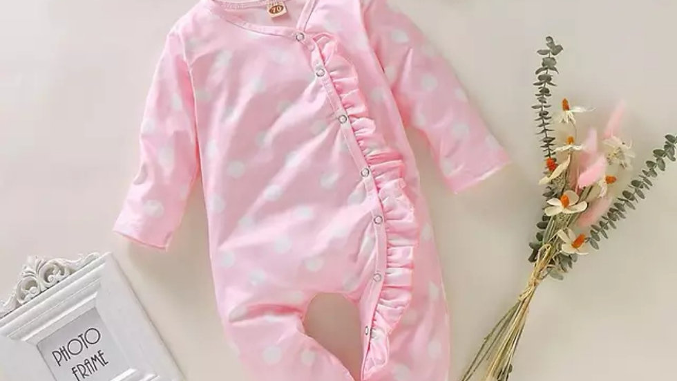 Isla pink spot Sleepsuit