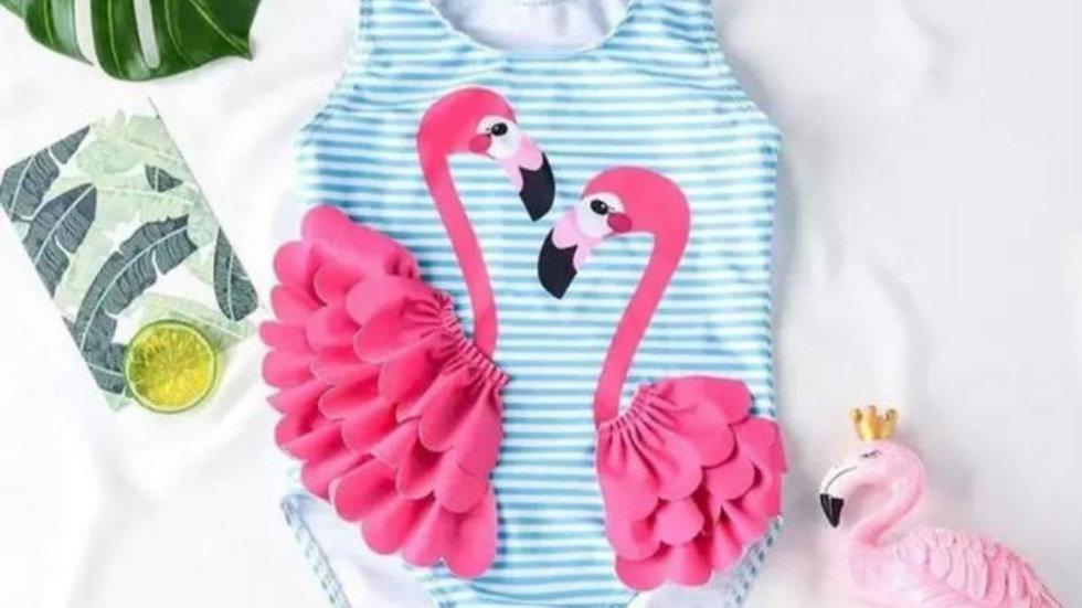 Flamingo Ruffle swimsuit & hat