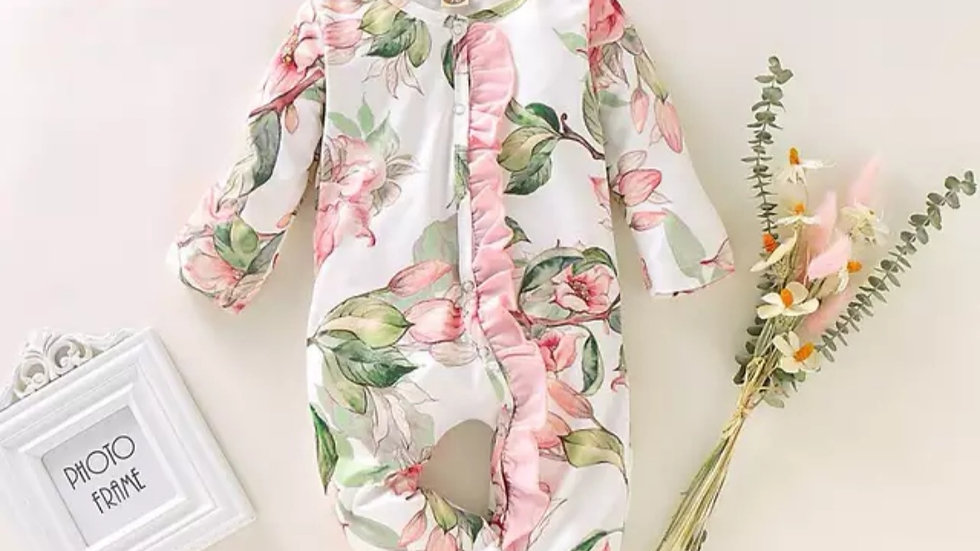 Lacey White Floral Sleepsuit