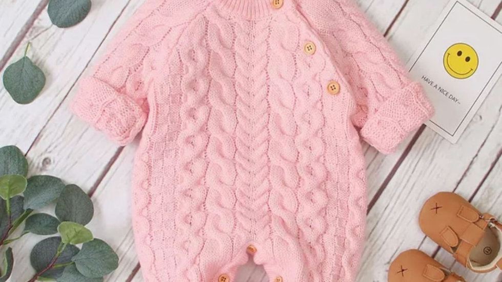 Pink cable knit romper