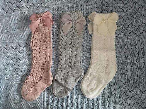 Knee high bow socks