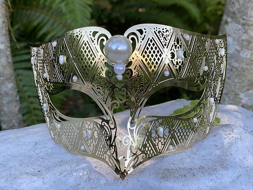 Metal Columbine Mask in Gold