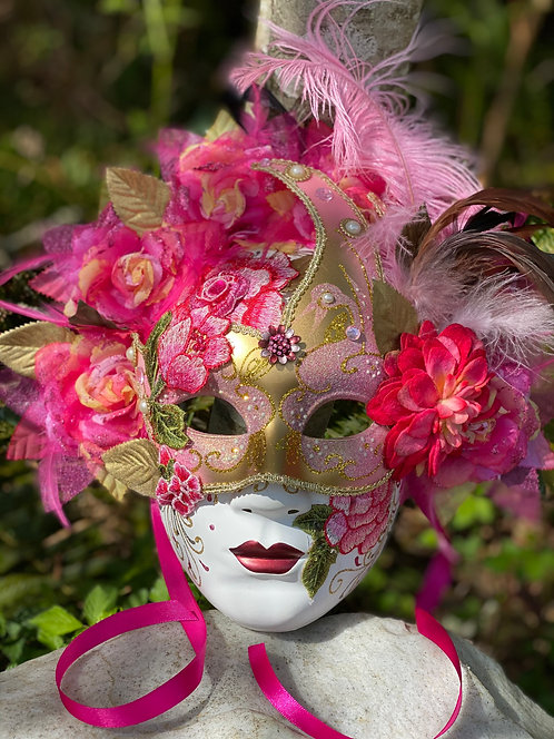 Full Face Floral Masquerade in Pink