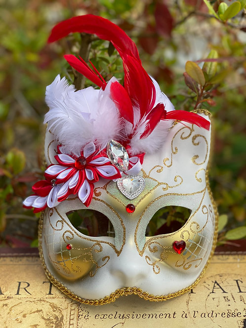 White & Red Floral Gatto Mask