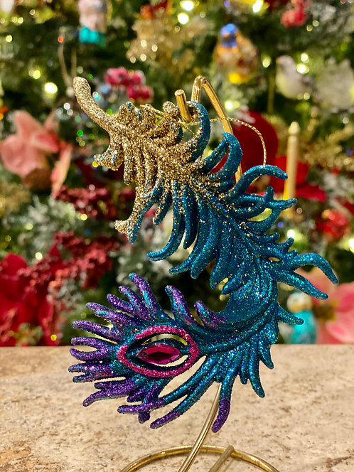 Peacock Feather Ornament in Blue