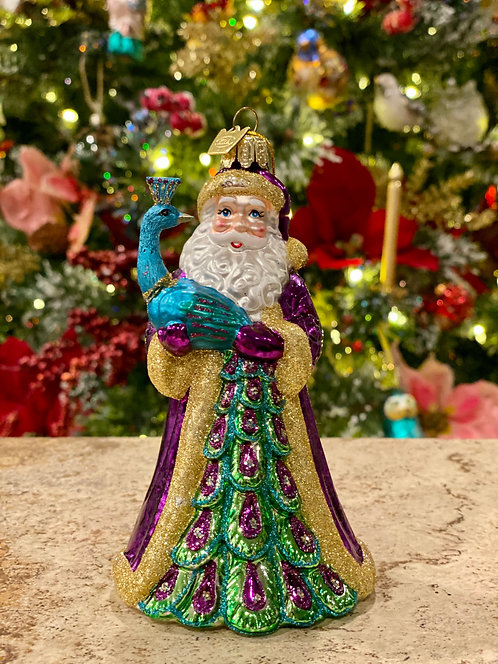 Peacock Santa Ornament