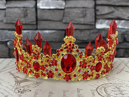 Red Crystal Fairy Crown in Gold