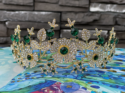 Emerald Flower Tiara