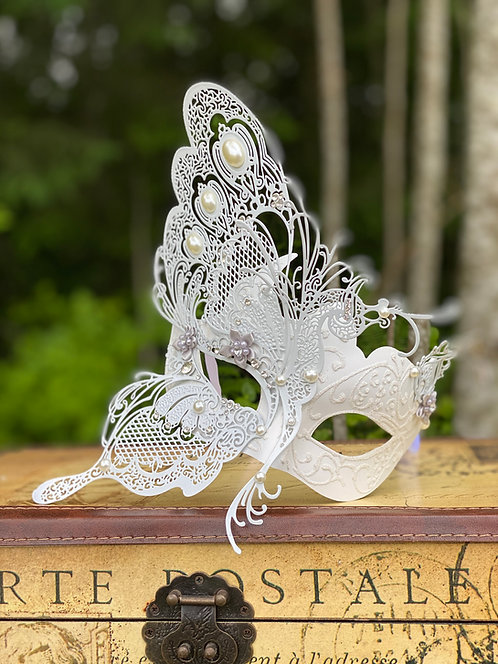 Fairy Queen Mask in White