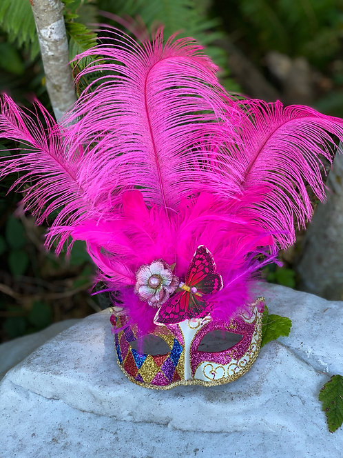 Feathered Harlequin Mask in Fuchsia
