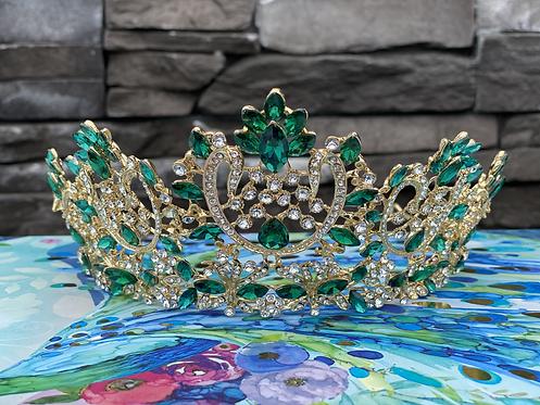 Elegant Coronation Tiara in Green