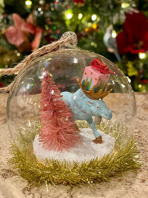 Holiday Moose Globe Ornament