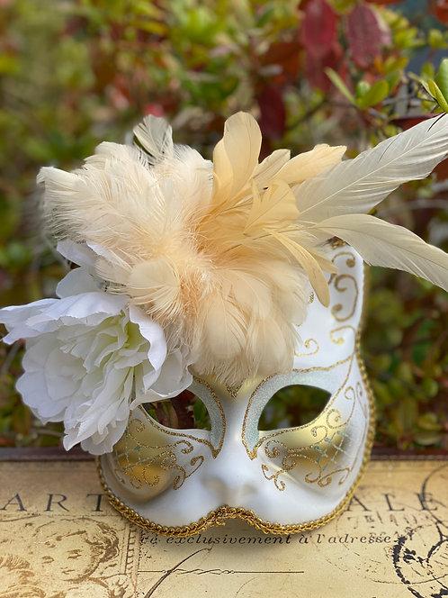 White/Gold Gatto Mask