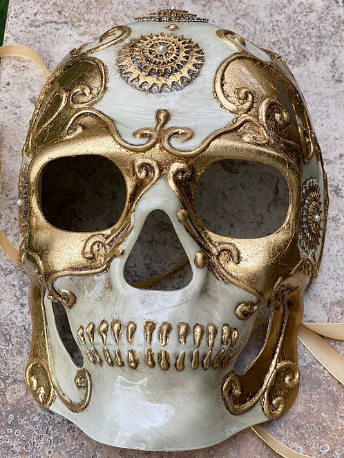 Steampunk Skull Mask in Gold