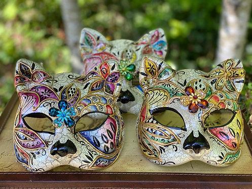 Painted Botanical Cat Mask