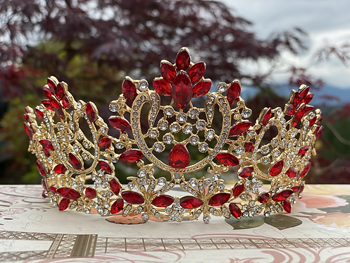 Elegant Coronation Tiara in Red