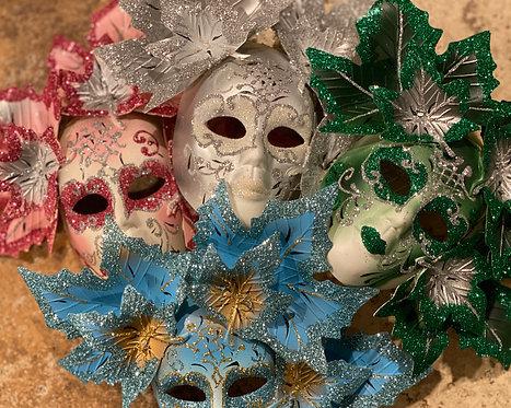 Glittering Foliage Mask Ornament
