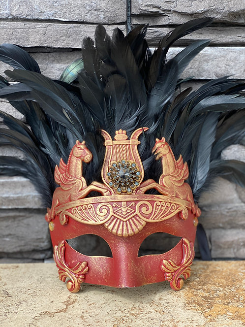 Trojan Feather Mask in Red/Gold
