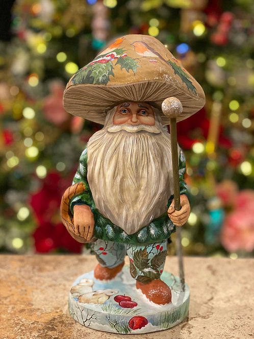 Wooden Forest Gnome Santa
