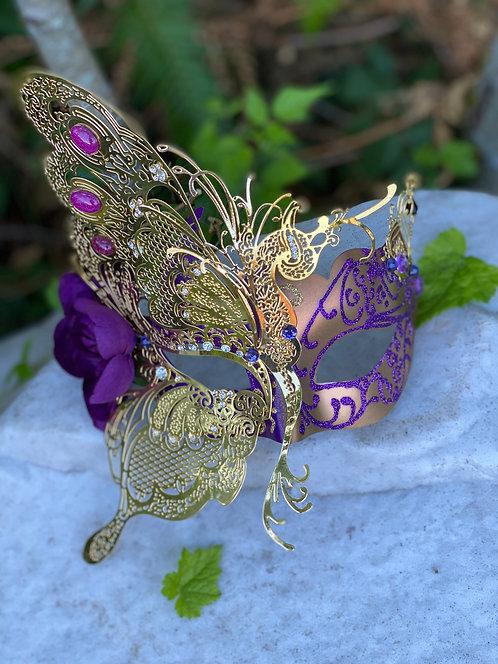 Fairy Queen Mask in Purple/Gold