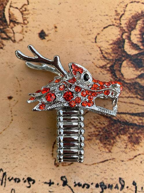 Jeweled Dragon Ring in Orange