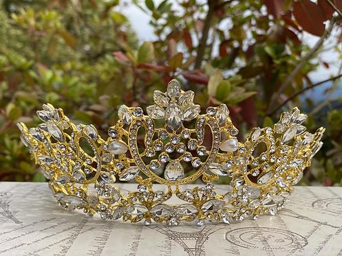 Elegant Coronation Tiara in Gold/Crystal