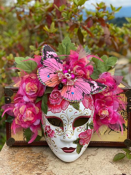 Butterfly Garden Mask in Pink