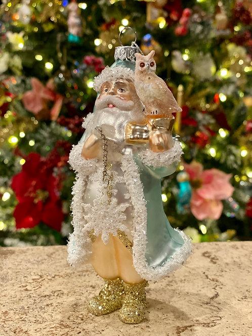 Blue Santa Ornament