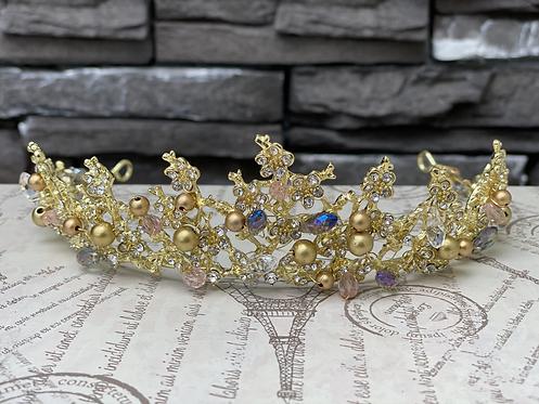 Golden Crystal Flower Tiara