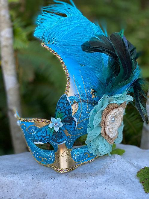 Glittering Blue Swan Mask