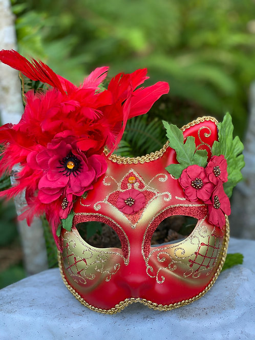 Poppy Flower Gatto Mask