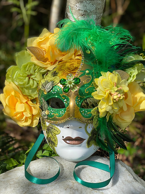 Full Face Floral Masquerade in Green