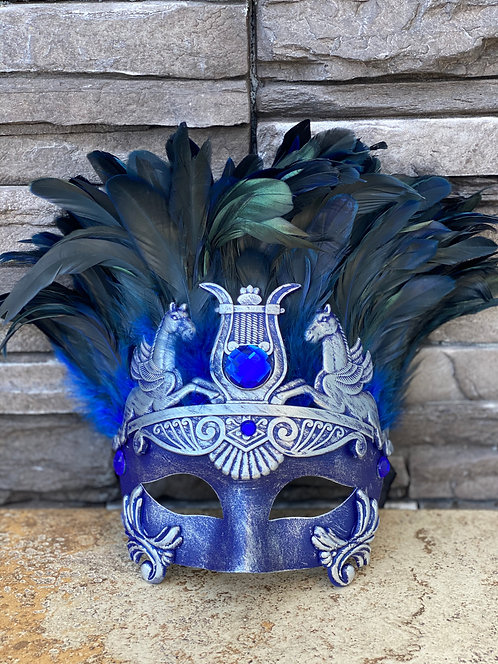 Trojan Feather Mask in Blue/Silver