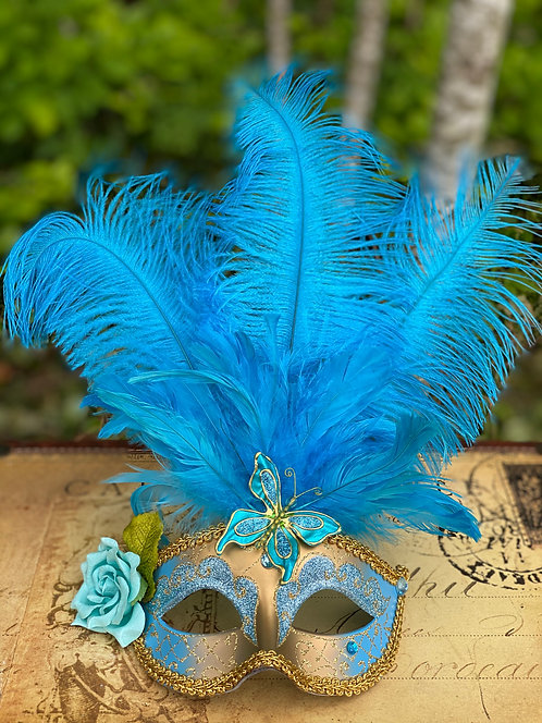 Feathered Mask in Light Blue