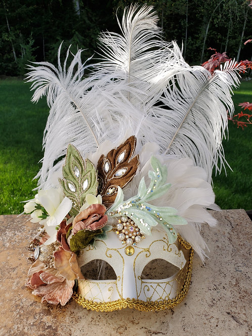 Floral Feathered Mask in White