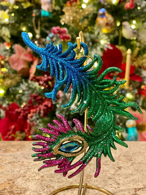 Peacock Feather Ornament in Green