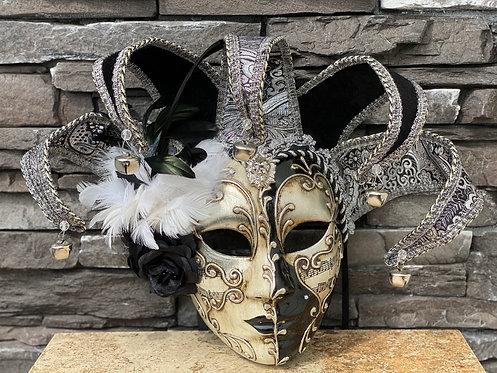 Venetian Jester Mask in Silver