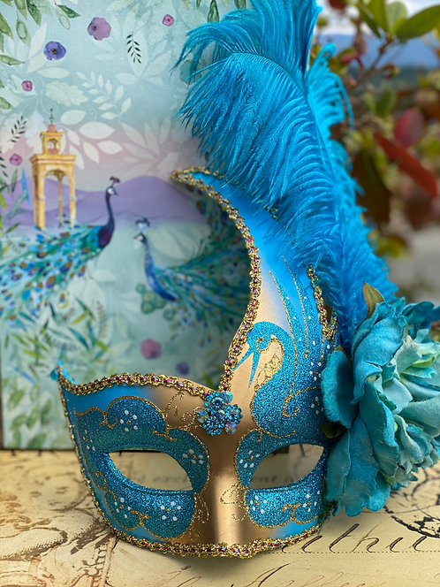 Blue/Gold Swan Mask