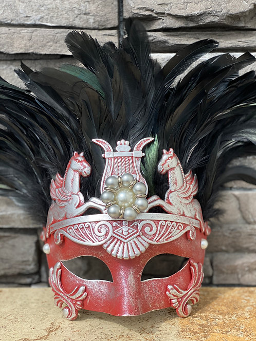 Pegasus Feather Mask in Red/Silver