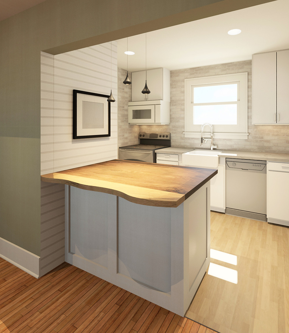 Kitchen with shiplap wall and brick backsplash
